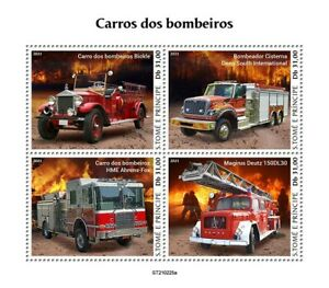 Sao Tome & Principe 2021 MNH Fire Engines Stamps Magirus Deutz Trucks 4v M/S