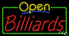 """New """"Open Billiards"""" 32x17 Solid/Animated Real Led Sign W/Custom Options 25465"""
