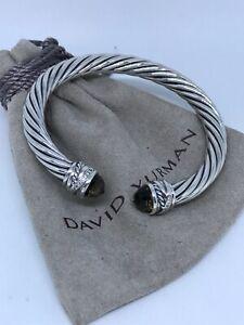 David Yurman 925 Silver 7mm Crossover Smoky Topaz & Diamond Cable Bracelet