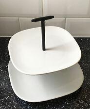 Superwhite 2 niveau plaque céramique gâteau stand vintage noir + blanc design cupcake
