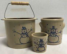 *BBP*Beaumont Brothers Pottery*Salt Glazed*3 piece Crock Set*Snowmen*Snowman*