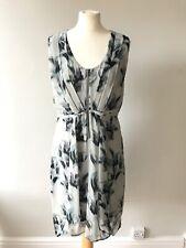 MINT VELVET Grey Black Floral Dress Size 14 Floaty Chiffon Sleeveless