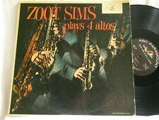 ZOOT SIMS Plays 4 Altos SIGNED autographed ABC Paramount mono LP George Handy