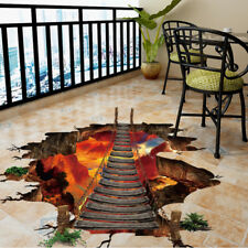 3D Flaming Volcano Fireworks Hill Bridge Art Decal Floor Sticker Wallpaper Decor