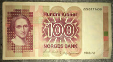 More details for norway: 100 kroner banknote from 1988 in very fine condition. 2263171650
