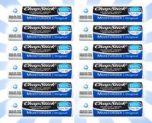 12 ChapStick Moisturizer Original Lip Balm Tube SPF 15 Skin Protectant 0.15 OZ