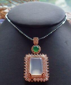 Certified Gold White Green AGATE JADE PENDANT Rectangle Diamond Imitation 324209