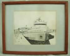 Vintage Pen drawing Edward L. Ryerson Great Lakes Ship Original Frame
