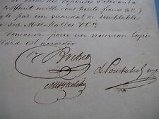 2 PIECES SIGNEES SUR AGENCEMENT JOCKEY-CLUB PARIS 1836 ARISTOCRATIE POURTALES