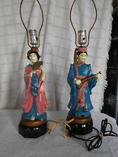 Chinese man & woman, couple porcelain electric lamps vtg Minuet