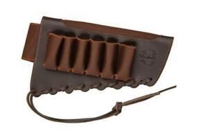 Cartridge Shotgun Real Leather Shell Holds Buttstock Holder 6 Shells 12/20 Ga