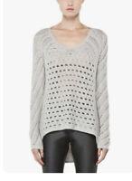 Women's Helmut Lang Open Knit Long Sleeve High-Low Sweater, Large