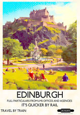 VINTAGE Railway POSTER Edinburgh Castle Scotland Travel Ad Art Deco PRINT A3 A4