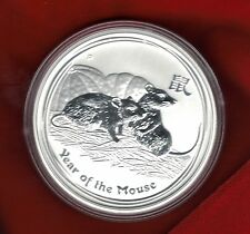 2008 Australian Lunar Series 2, YEAR OF THE MOUSE, 1oz Silver Brilliant Unc Coin