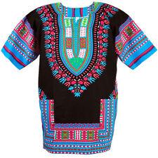 Cotton African Dashiki Mexican Poncho Hippie Tribal Boho Shirt Black ad13c
