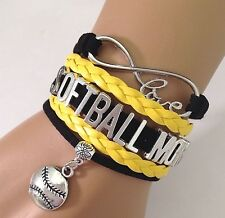 Softball Mom Infinity Charm Bracelet Cheer Team Spirt Sport QUALITY USA
