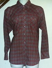 Western Sport Vintage Western Shirt Pearl Snap Red Plaid Sz 15/33