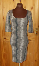 BAY grey slate stretch bodycon mini dress 3/4 sleeve short wiggle party 12 40