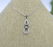 Black Cz Pendant Sp30549H1 925 Sterling Silver Micro Pave