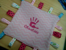 personalized with your childs name girl or boy taggie blankets