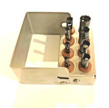 Dental Trephine Drills 8 Piece Kit for Implant Surgery + Bur Holder Black