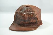 Vintage rare antique brown hat original hand made of leather and real sneak skin