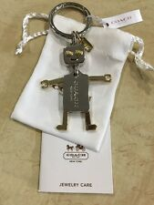 Authentic NWT COACH Gold & Silver Robot Keychain LIMITED EDITION. F65429 W Box