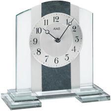 NEU AMS Tischuhr Uhr silber Schiefer Schreibtischuhr Büro Wohnzimmer modern