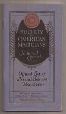SOCIETY OF AMERICAN MAGICIANS OFFICIAL LIST OF ASSEMBLIES AND MEMBERS 1933