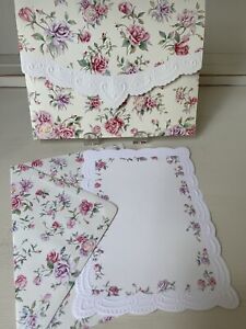 Rare Vintage Carol's Rose Garden EMBOSSED FOLIO Set Note Cards & Envelopes ~ NOS