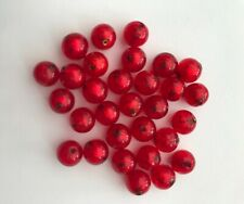 Thirty 8mm Flame Red Murano Glass Beads with 24k gold lining