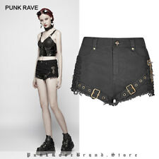 Women Black Steampunk Shorts Mid Waisted Mesh Micro-elastic Personality Trousers