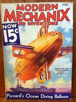 MODERN MECHANIX MAGAZINE & INVENTIONS APRIL 1933 PICCARD'S OCEAN DIVING BALLON