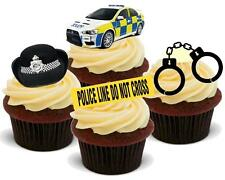 NOVELTY POLICE MIX STAND UP Edible Cake Toppers Birthday Hat Car Handcuffs Kids