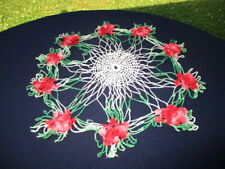 """#7- 16"""" TABLE DOILY COTTON CROCHET LACE GREEN WITH PINK & RED 3D ROSES"""