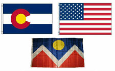 3x5 American & City of Denver & State of Colorado Wholesale Set Flag 3'x5'