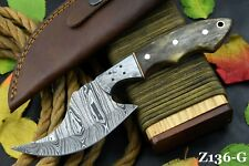 Custom Damascus Steel Hunting Knife Handmade With Camel Bone Handle (Z136-G)