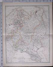 1881 Grande Antico Mappa Russia Europea CRIMEA POLONIA Finlandia Caucasia