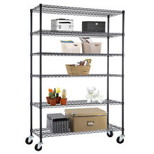 """6 Tier Heavy Duty Wire Shelving Rack Adjustable Steel Shelf 48""""x82""""x18&#034 ; Black"""