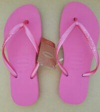 Havaianas Slim Crystal Rose Pink Thongs Size 35/36