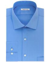 Van Heusen Men's Regular Fit Spread Collar Dress Shirt, Blue, Size 17.5 34/35