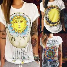 Womens Hippie Graphic T-Shirt Summer Short Sleeve Blouse Basic Tee Shirts Tops