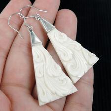 Large Carved Bone & 925 Sterling Silver Earrings Jewellery