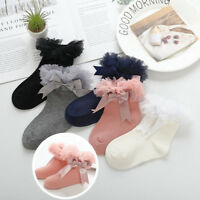 Pretty Tutu Bow Girls Kids Toddlers Children Ankle Wedding Party Socks 2-8 years