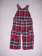 LN Gymboree Boys BABY HELICOPTER Red White Blue Plaid Patriotic Overalls 12-18 M