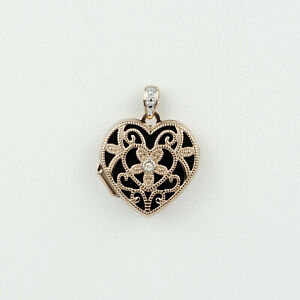 14k Rose Gold Beaded Heart Locket with Diamond Accent