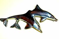 STERLING 925 SILVER DOLPHIN BROOCH. TWO DOLPHINS LEAPING. 17 GRAMS - SUPERB