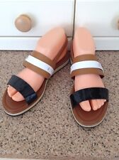 MONCLER LADIES TAN/BLACK/WHITE SANDALS UK SIZE 5 BARELY WORN GREAT CONDITION