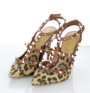 43-28  NEW Women's Sz 6.5 M Valentino Garavani Leopard-Print Rockstud Pumps