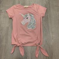 Btween Girls Top Sz 10 Pink Sparkle Glitter Unicorn Short Sleeve Tie Front MA43